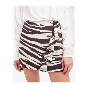 Free People Babe Ruffle Zip Up Zebra Mini Skirt